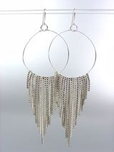 Sexy Basketball Wives Style Silver Metal Box Chains Ring Dangle Earrings - $9.99