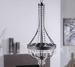 "24.8"" Chandelier Black Iron & Clear Glass Accents NEW"