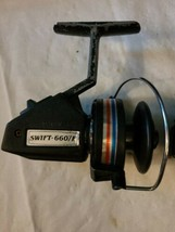 2 Vintage Swift 660 F Fishing Spinning Reels Pair Parts Repair image 2