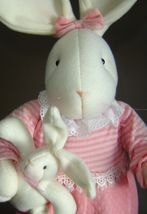 "26"" Tall Soft Pink Bunny with Baby Bunny Bunny Slippers image 2"