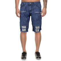 LR Scoop Men's Moto Quilted Distressed Painted Skinny Slim Fit Jean Denim Shorts image 6