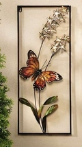 "27"" Iron Monarch Butterfly & Flowers 3D Wall Plaque Rectangle"