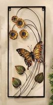 "27"" Iron Monarch Butterfly & Sunflowers 3D Wall Plaque Rectangle"