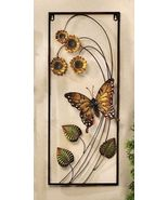 "27"" Iron Monarch Butterfly & Sunflowers 3D Wall Plaque Rectangle - €54,45 EUR"