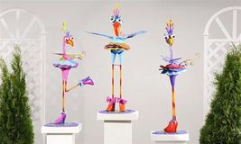 "33"" Metal Zany Lady Bird Garden Figurines - 3 Choices NEW"