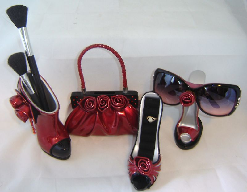4 pc. Set Red Stiletto Shoe Fashion Accents NEW
