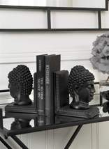 "7.5"" Buddha Bookends Set - Zen Black Polystone NEW"
