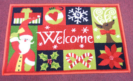 "SANTA & REINDEER ""WELCOME"" ACCENT RUG DOORMAT CHRISTMAS DECORATION - $15.88"