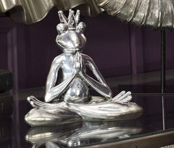 "7"" Sitting Yoga Frog Statue Figurine Polystone Home Decor Silver Color"