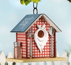 "9"" Country Diner Restaurant Hanging Birdhouse Durable Polystone NEW"