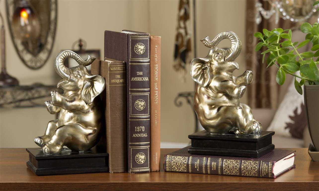 "9"" Elephant Bookends Set -Golden Color Polystone NEW"