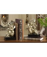 "9"" Elephant Bookends Set -Golden Color Polystone - $59.39"