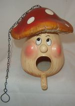 Animated Jolly Mushroom Head Birdhouse - Durable Polyresin -