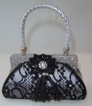 Black Lace Fashion Purse Handbag Money Bank Polyresin image 1