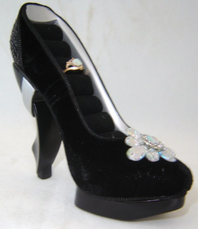 Black Replica Stiletto Shoe Ring Holder NEW