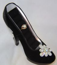 Sexy Black Velvet Replica Stiletto Shoe Ring Holder Fashion Jewelry Woman Gift image 2