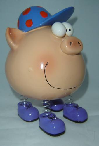 Blue Boy Caricature Character Piggy Money Bank NEW