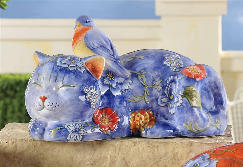 Blue Sleeping Cat with Bird Ceramic Fiqurine Decor