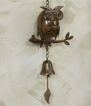 "Brown Owl Metal Wall Hanging with Bell 25"" Long -  Home Decor"