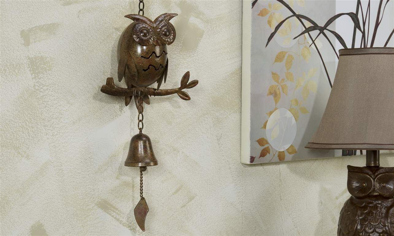 Brown Owl Metal Wall Hanging With Bell 25 Quot Long Home