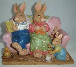 Bunny Family on a Couch Figurines Polyresin NEW