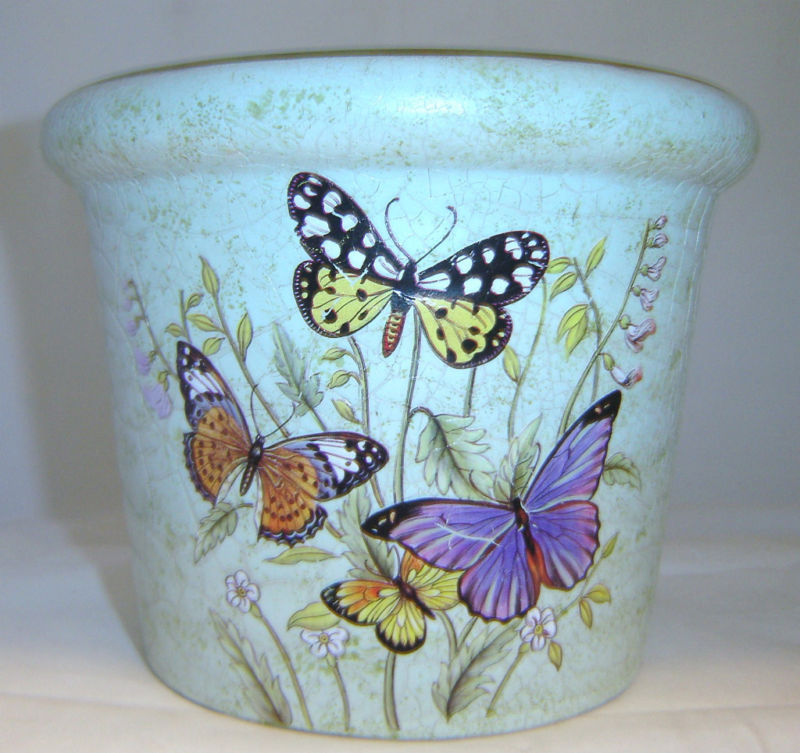 Butterfly Garden 6.5 inch high Ceramic Planter Pot NEW