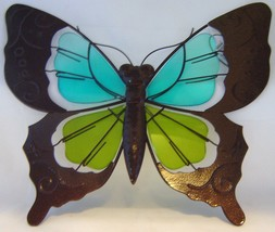 Butterfly Metal & Glass Wall Plaque Blue & Green NEW