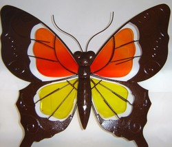 Butterfly Metal & Glass Wall Plaque Orange & Yellow