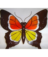 Butterfly Metal & Glass Wall Plaque Orange & Yellow - $32.66