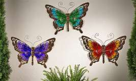 Butterfly Wall Plaque Metal & Glass Garden Decor - Purple, Green or Orange