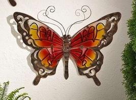 Butterfly Wall Plaque Metal & Glass Garden Decor - Purple, Green or Orange image 2