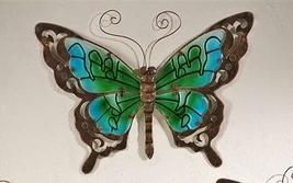 Butterfly Wall Plaque Metal & Glass Garden Decor - Purple, Green or Orange image 3