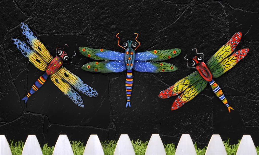 Set of 3 COLORFUL DRAGONFLY INDOOR & OUTDOOR WALL DECOR made of metal