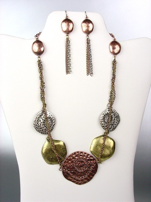 Primary image for UNIQUE Antique Multicolor Metal Disks Chains Drape Necklace Earrings Set