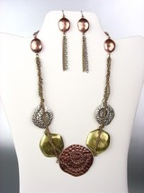 UNIQUE Antique Multicolor Metal Disks Chains Drape Necklace Earrings Set - $17.99