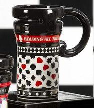 Casino Gambling Cards - Red & Black Ceramic Travel Mug 14oz  #486798 - $19.79