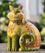 "Cat Polystone Fiqurine Decor 7.6""high"