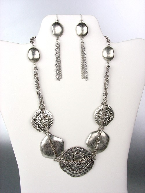 Primary image for UNIQUE Antique Silver Metal Disks Chains Drape Necklace Earrings Set