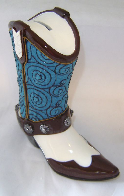 Cowboy Boot Money Bank Polyresin NEW