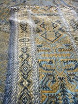 "1850 antique COVERLET pennsylvania estate BLUE,GREEN,GOLD 53""x80"" - $224.95"