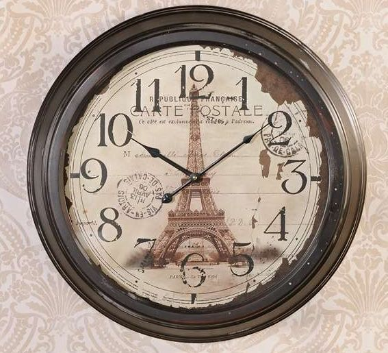 "Eiffel Tower Round Iron Wall Clock Vintage Look with Glass Front  23"" x 4"""