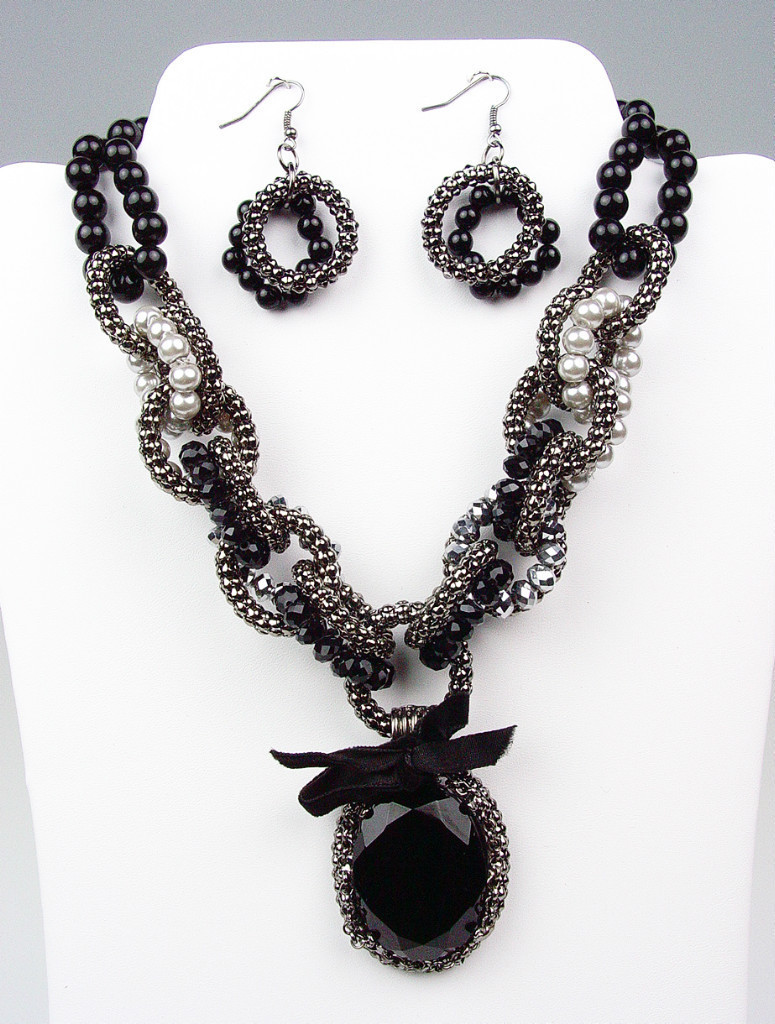 Primary image for Victorian Black Crystal Pearls Crystals Antique Chains Necklace Earrings Set