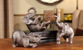 Elephant Figurines Home Decor Set of 3 Poses Polystone