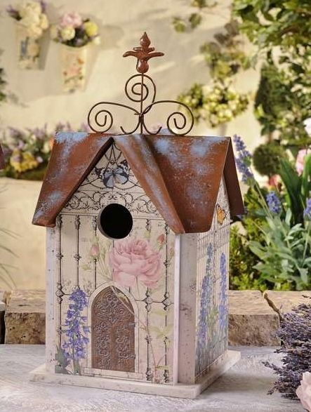 "Enchanted Cottage Floral Birdhouse 14"" high Metal Roof"