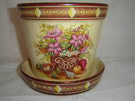 Floral Ceramic Garden Planter Pot w Matching Tray