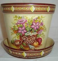 Floral Ceramic Garden Planter Pot w Matching Tray image 2