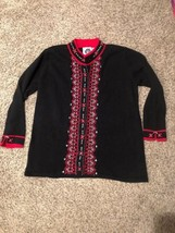 Storybook Knits Black & Red Silver Accents Knit Cardigan Sweater Size 1X Nwot - $49.49