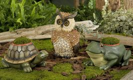 "Garden Planter with 4"" pot- Owl, Frog or Turtle - Durable Polystone Material"