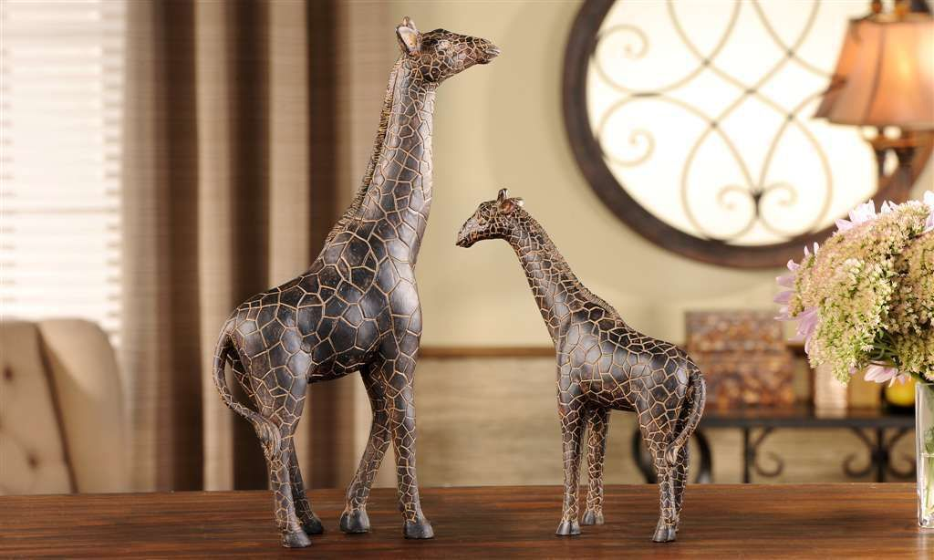 "Giraffe Figurines Home Decor Set of 2 Mother 14"" and Baby 9.8"" Polystone"