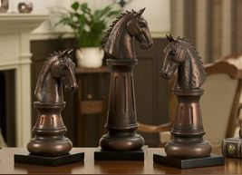 "Horse Chess Piece Statues - Set of 3 - 14"" 12"" 10"" Copper Color Polystone NEW"